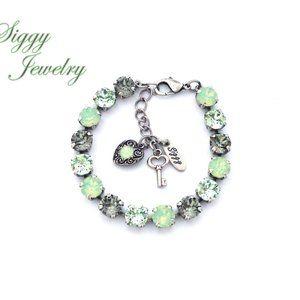 Swarovski Crystal Green and Black Diamond Bracelet